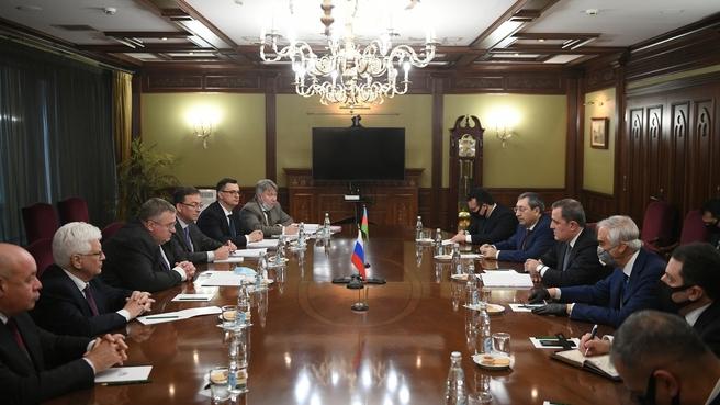 Рабочая встреча Алексея Оверчука и Министра иностранных дел Азербайджанской республики Джейхуна Байрамова