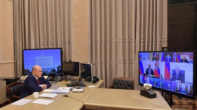 Михаил Мишустин на совещании в режиме видеоконференции у Президента России с постоянными членами Совета Безопасности