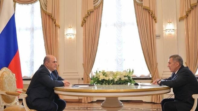Беседа Михаила Мишустина с Президентом Республики Татарстан Рустамом Миннихановым