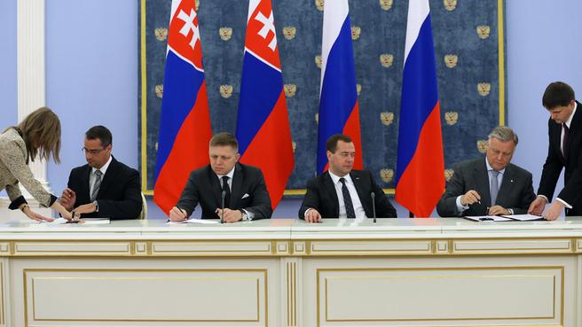 Подписание документов по завершении российско-словацких переговоров