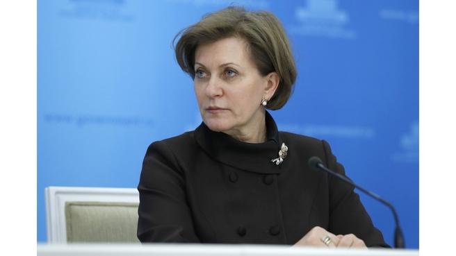 Руководитель Роспотребнадзора Анна Попова на брифинге по завершении заседания оперативного штаба