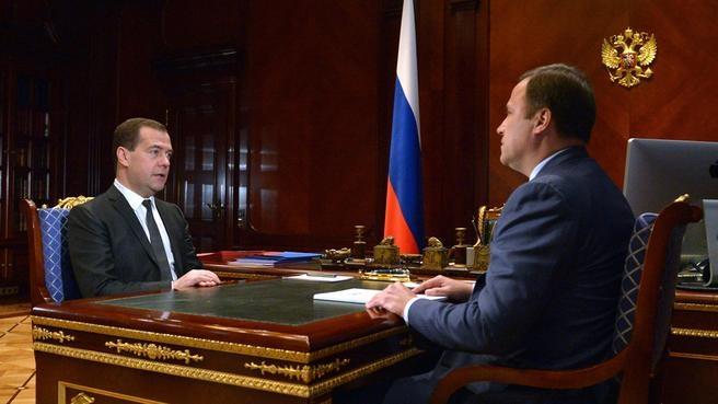 Рабочая встреча с генеральным директором Объединённой ракетно-космической корпорации Игорем Комаровым