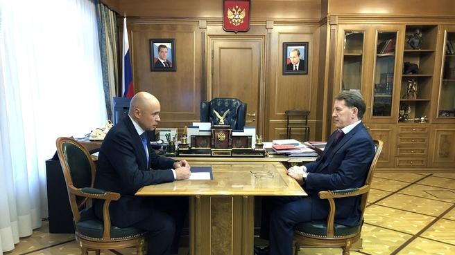 Встреча Алексея Гордеева с временно исполняющим обязанности главы администрации Липецкой области Игорем Артамоновым