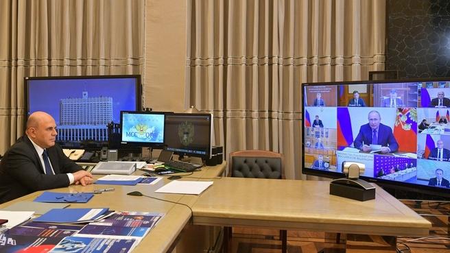 Михаил Мишустин на совещании у Президента России с членами Правительства и руководством партии «Единая Россия»