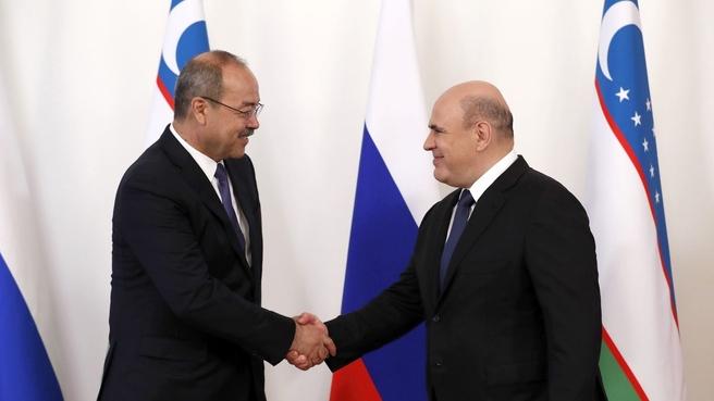 Михаил Мишустин и Премьер-министр Республики Узбекистан Абдулла Арипов