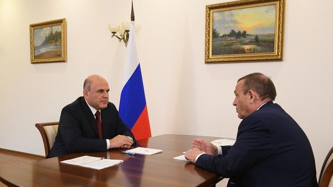 Беседа Михаила Мишустина с главой Республики Марий Эл Евстифеевым Александром Александровичем