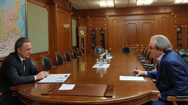 Встреча Виталия Мутко с секретарём Общественной палаты России Валерием Фадеевым