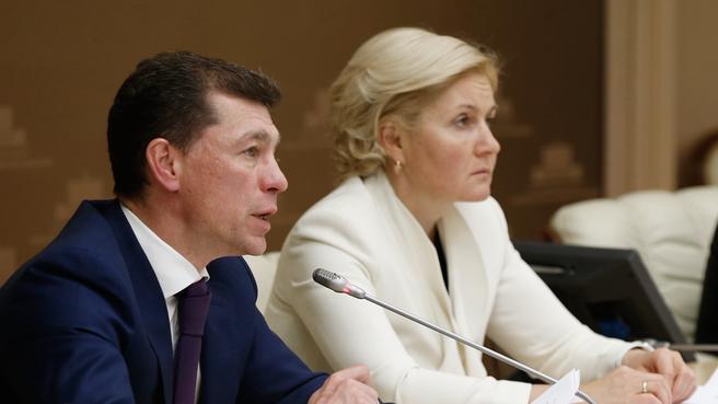 Заместитель Председателя Правительства Ольга Голодец и Министр труда и социальной защиты Максим Топилин