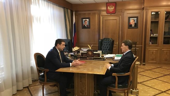 Рабочая встреча Алексея Гордеева с губернатором Смоленской  области Алексеем Островским
