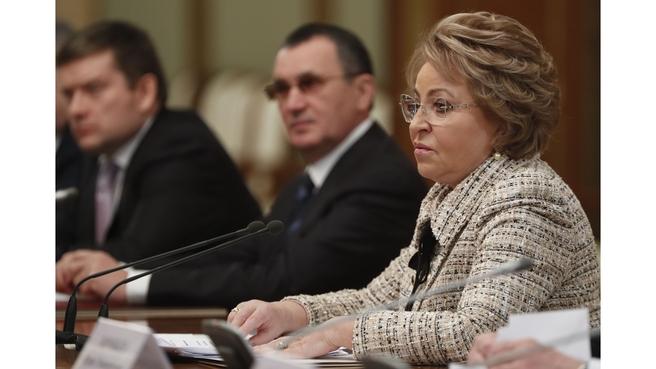 Выступление Валентины Матвиенко на встрече с членами Совета палаты Совета Федерации Федерального Собрания