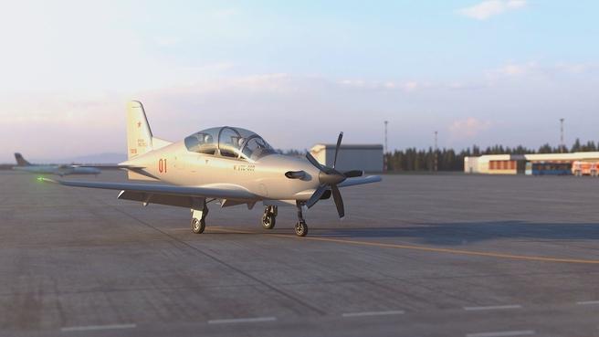 Образец учебно-тренировочного самолета УТС-800, сконструированного и построенного на Уральском заводе гражданской авиации