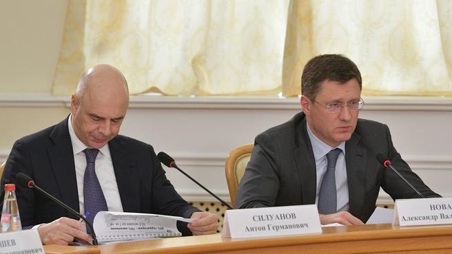 Антон Силуанов и Александр Новак на встрече с членами Совета по стратегическому развитию Костромской области