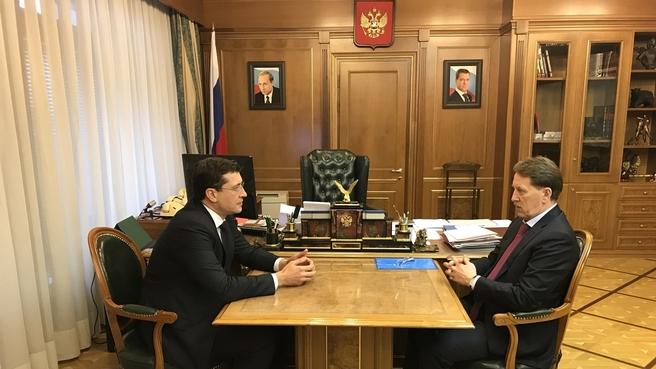 Встреча Алексея Гордеева с губернатором Нижегородской области Глебом Никитиным