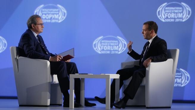Интервью Дмитрия Медведева программе «Воскресное время» Первого канала