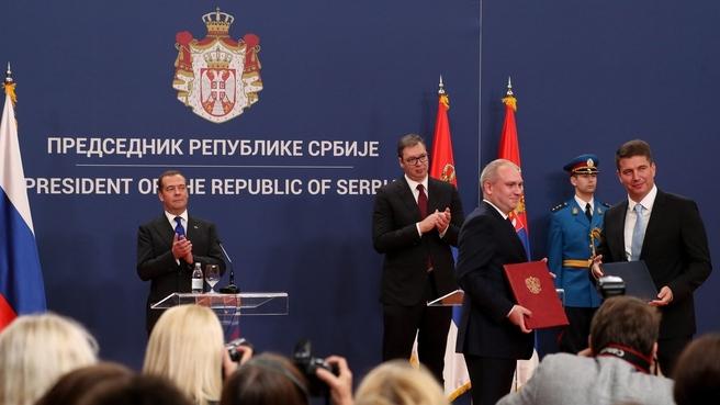 Подписание документов по итогам российско-сербских переговоров