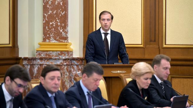 Доклад Дениса Мантурова на заседании Правительства