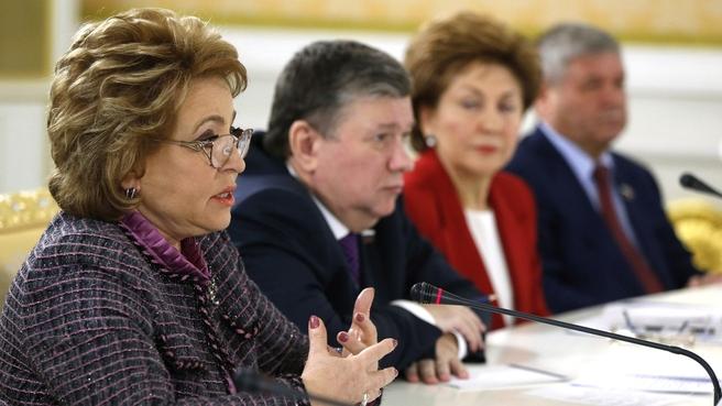 Встреча с членами Совета палаты Совета Федерации Федерального Собрания. Выступление Председателя Совета Федерации Валентины Матвиенко