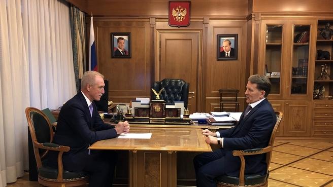Алексей Гордеев провел рабочую встречу с губернатором Ульяновской области Сергеем Морозовым