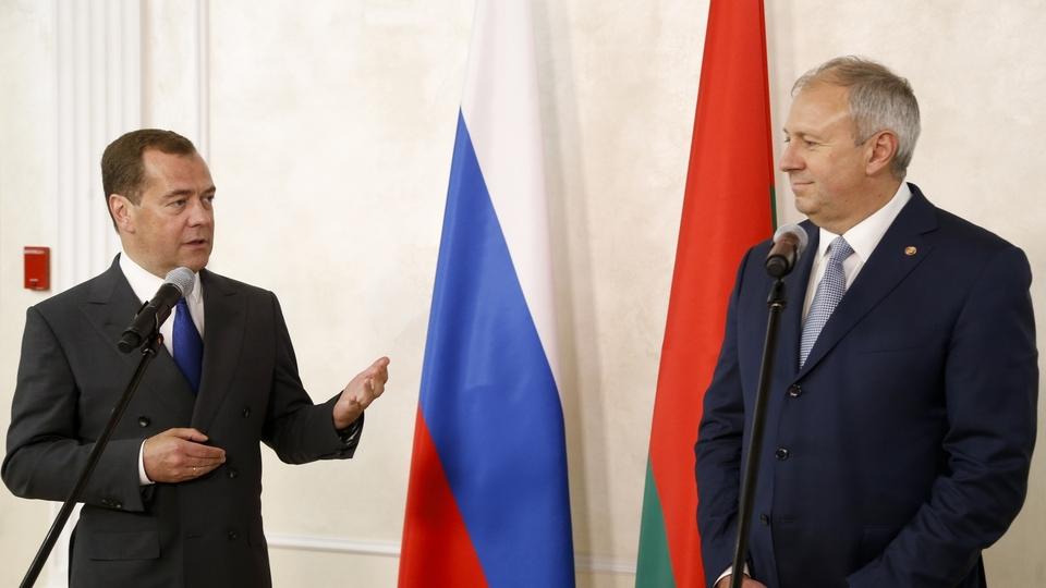 Пресс-конференция Дмитрия Медведева и Сергея Румаса после переговоров