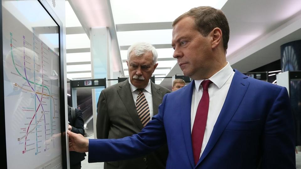 Посещение станции метро «Новокрестовская». С губернатором Санкт-Петербурга Георгием Полтавченко