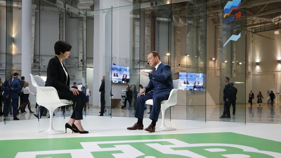 Дмитрий Медведев ответил на вопросы телеведущей Ирады Зейналовой (НТВ) в рамках форума Сочи-2019