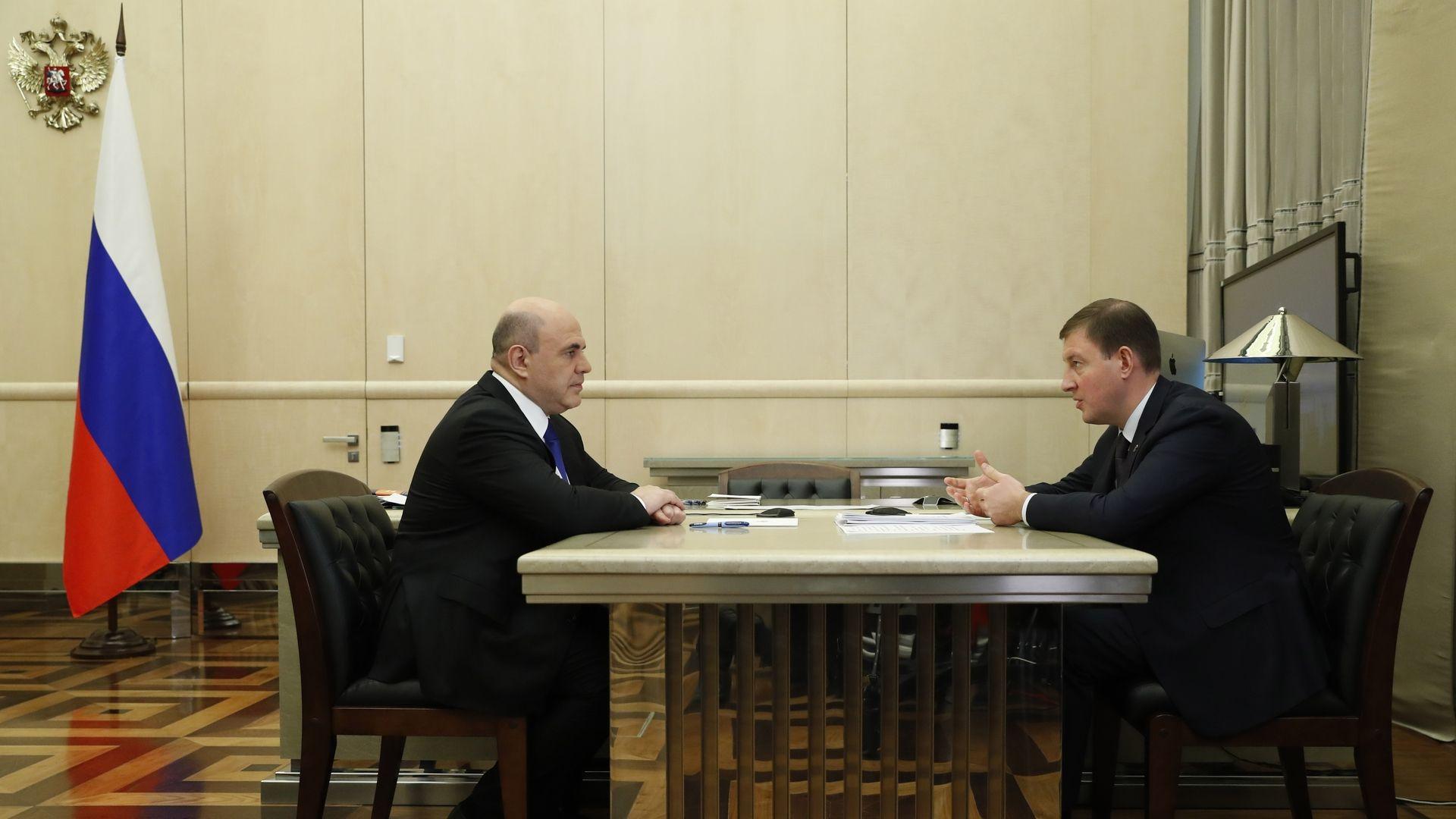Встреча Михаила Мишустина с секретарём Генсовета партии «Единая Россия» Андреем Турчаком